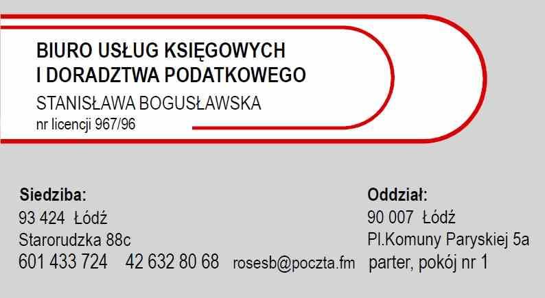Biuro usług księgowych i doradztwa podatkowego Stanisława Bogusławska